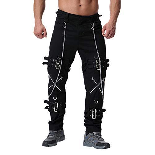 Cargo Hose für Herren Mode Mittlere Taille Metall Verziert Lange Hosen Männer Outdoor Trekking Camping Bergsteigen Hosen Reißverschluss Steampunk Hose Große Größen