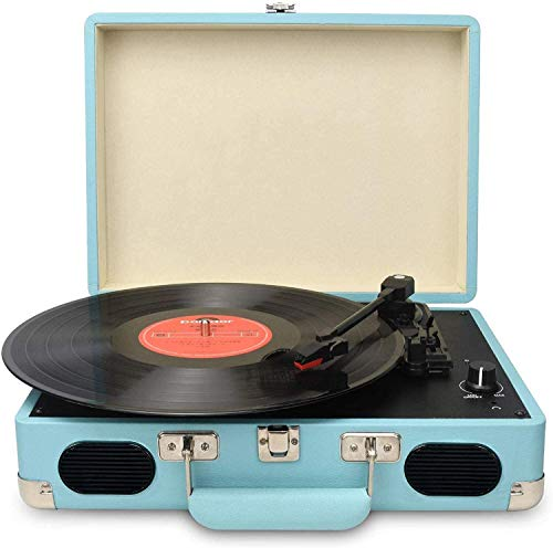 DIGITNOW Vintage Turntable,3 Speed Vinyl Record Player-Suitcase/Briefcase Style with Built-in Stereo Speakers, Supports USB/RCA Output/Headphone Jack/ MP3/ Mobile Phones Music Playback (Blue)
