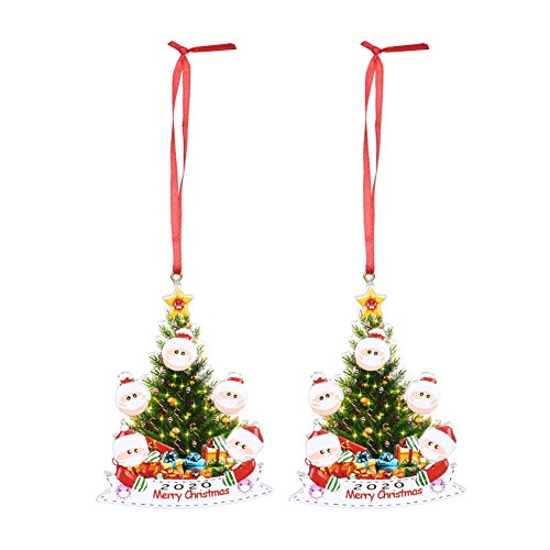 DIY Personalized Masked Snowman Doll Pendant Survived Family 2020 Christmas Tree Hanging Ornament 3D Mini Glittery Xmas Tree Holiday Decorations (5 People, 2pc)