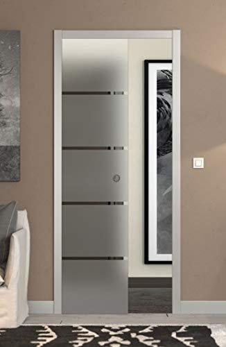 Puerta corredera escondida de cristal satinado con rayas 90 x 210 (izquierda)
