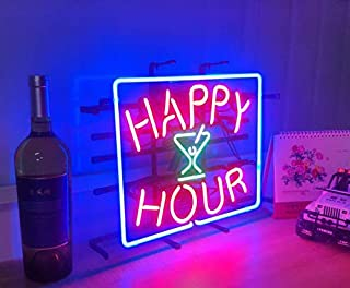 Happy Hour Metal Frame Neon Sign 4232CM Real Glass Neon Sign Light for Beer Bar Pub Garage Room.