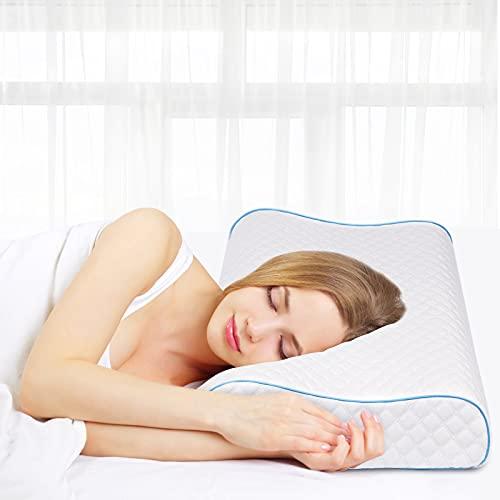 Almohada de espuma viscoelástica, almohada de 60 x 35 cm, almohada de apoyo para el cuello de altura ajustable, almohada para dormir de espuma de gel viscoelástica, almohada para dormir de lado