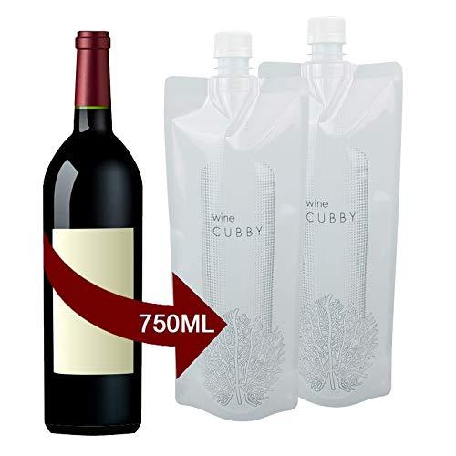 Foldable Wine Bag, 750 ml Portable Reusable Plastic Wine Bottle Pouch, 2 Pack Collapsible Liquid Leak Proof Flask Holder for Wine Liquor Beverages, Travel, Gift (White)