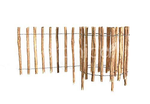 Floranica® - Imprägnierter, getackerter Steckzaun, Rollzaun aus Haselnuss Holz, Integrierte Pfosten, gut gespaltene Staketen, sichere Spitzen, Lattenabstand:8-10 cm, Höhe:35 cm x 500 cm lang