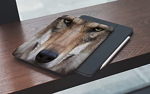 MEMETARO Funda para iPad (9,7 Pulgadas 2018/2017 Modelo), Contacto con los Ojos del Lobo Animal Hermoso Bestia peligrosa Encanto Horrible Bell Smart Leather Stand Cover with Auto Wake/Sleep