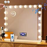 Fenair Large Makeup Mirror Bluetooth with 18 LED Detachable Bulbs Stepless Dimming Lights 3 Colour Mode LCD Screen Date Week Time Temperture Volume Display(2 Spare Bulbs)