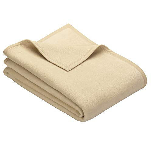 Ibena Porto Kuscheldecke 150x200 cm - Wolldecke creme einfarbig, pflegeleichte Baumwollmischung, kuschelig weich und angenehm warm