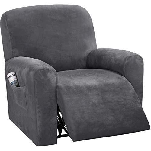 NOPEXTO Sesselbezug Stretch Samt, Sesselschoner Für Relaxsessel, Sesselüberwürfe Bezug Für Fernsehsessel Liege Sessel (Grau)