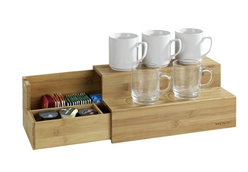 WENKO 53030100 Bambus Treppe für Kaffee und Tee, Küchenregal mit Schublade, Bambus, 33 x 17.5 x 15...