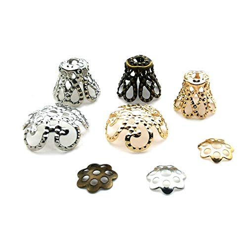 7 Kinds Hollow Flower Filigree Spacer Tassel Charms Accessories for Jewelry Making DIY Cord Caps End Caps NX Garden 350pcs Gold Jewelry Bead Caps Assorted Kit