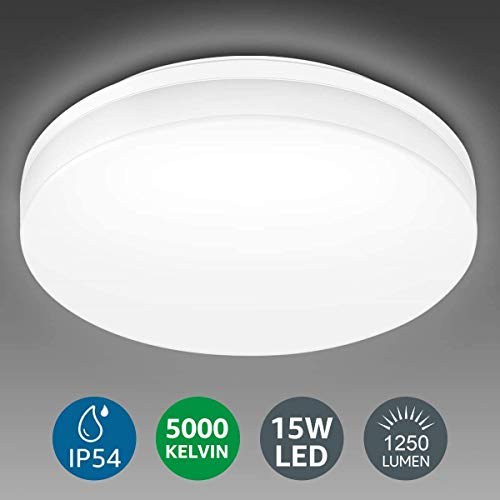 Lighting EVER 15W Deckenlampe, IP54 Wasserfest Badlampe, 5000K LED Deckenleuchte, 1250lm Lampen ideal für Badezimmer Balkon Flur Küche Wohnzimmer, Kaltweiß Badezimmerleuchte Ø22cm