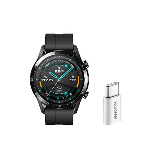 HUAWEI Watch GT2 Sport + USB-C - Smartwatch con Caja de 46 Mm (hasta 2 Semanas de Batería, Pantalla Táctil Amoled de 1.39', GPS, 15 Modos Deportivos, Llamadas Bluetooth), Negro Mate