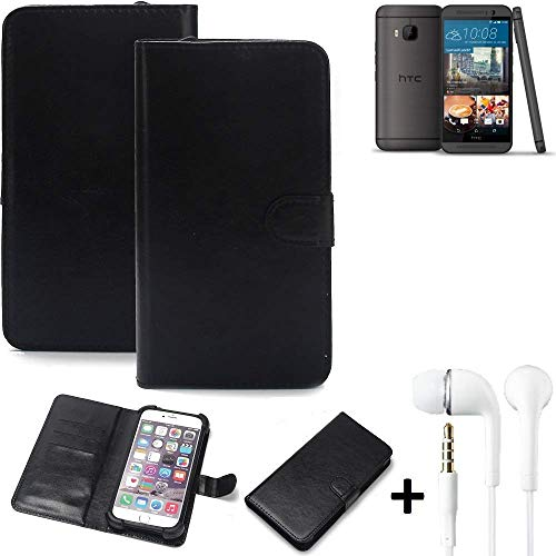 K-S-Trade® Wallet Case Handy Hülle Für HTC One M9 (Prime Camera Edition) Schutz Hülle Smartphone Flip Cover Flipstyle Tasche Schutzhülle Flipcover Slim Bumper Schwarz + In Ear Headphones
