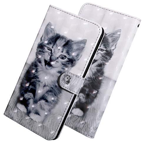 COTDINFOR Compatible with Samsung Galaxy S21 FE Funda 3D Pintada de Piel PU Shell con Magnético Cierre Anti-rasguños Resistente Carcasa Cover para Galaxy S21 FE Case Smiley Cat Bx.