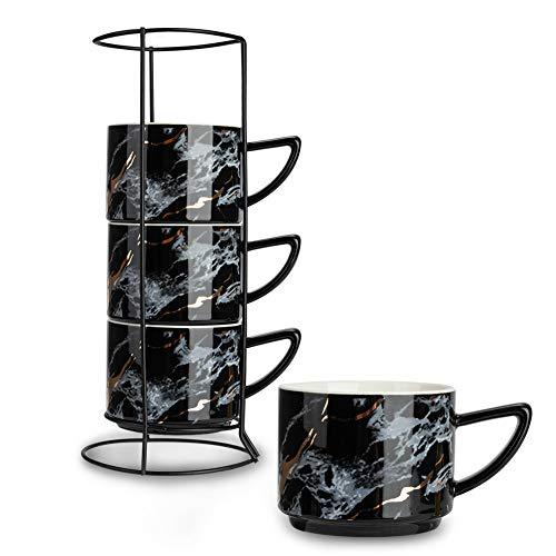SOPRETY Tassen 4er Set inkl. Tassenhalter, Espressotassen aus Keramik mit Ständer, elegant Marmor Kaffeetassen Teetassen stapelbar, für Küche Büro, 200ml, schwarz