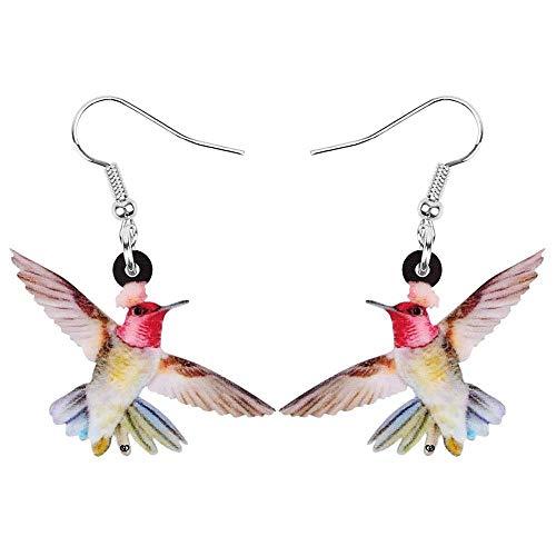Pendientes de colibrí acrílicos con Estampado de pájaro Animal Colgante para Mujeres niñas Adolescentes Moda Rojo marrón