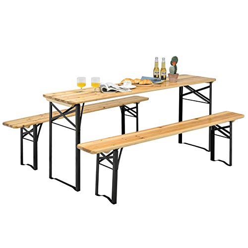 "Giantex 70"" 3-Piece Portable Folding Picnic Beer Table with Seating Set Wooden..."