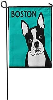 Art5tore Garden Flags Seasonal Flag Funny Flag 12x18 Inches Teal French Boston Terrier Bulldog Face Dog Head Cartoon Outdoor Decorative House Welcome Garden Flag Seasonal