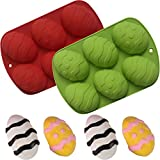Easter Egg Shape Mold Silicone 3D Dinosaur Egg Chocolate Mold Ostrich Egg Fondant Mould Sugar Jelly Craft Baking Decorating Mold Cocoa Bomb Handmade Soap (Red+Green)