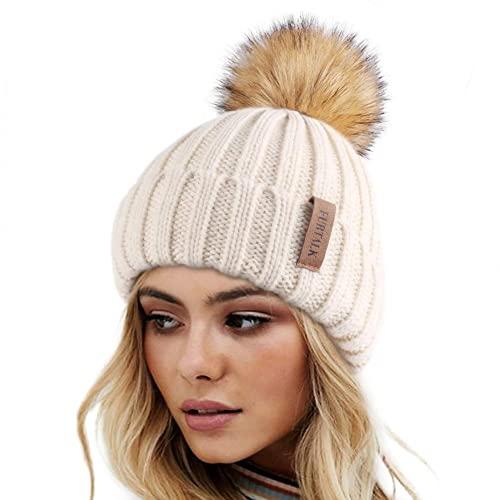 FURTALK Winter Hats for Women Double Layer Fleece Line Beanie Hat with Faux Fur Bobble Pom Pom Beige