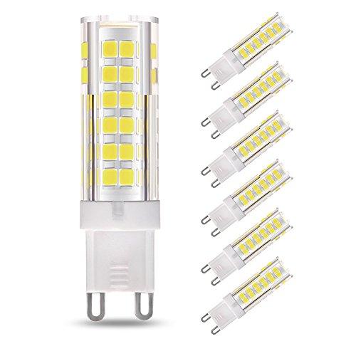 G9 LED Ampoule, 7W (équivalent ampoule halogène 60W), non-gradable, angle de faisceau de 360 degrés, blanc lumière du jour 6000K, ampoules à économie d'énergie, 6 paquets