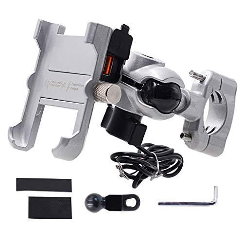 Wasserdichte Metall-Motorrad-Smartphone-Halterung mit QC 3.0 USB-Schnellladegerät, Motorrad-Spiegel-Lenkerständer, Halterung, 10,9 - 17,5 cm, Handy-Halterung mit Schwanenhals-Handy-Ständer