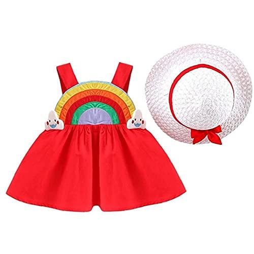 sevennine Baby Summer Vestido Todddler Sin Mangas Falda del Arco Iris con Sunhat para niños de 6 a 12m Conjunto de sombrillas Red 2PCS