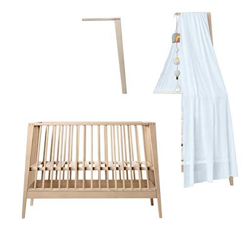 Linea - Cuna para bebé (madera de haya, con dosel, sin colchón), color azul