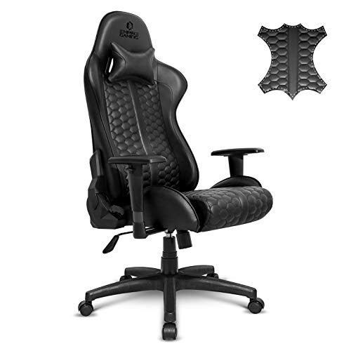 EMPIRE GAMING – Black Edition Chaise Gaming Fauteuil de Bureau Gamer -Cuir Véritable -Siège Ergonomique Coussin Lombaire Intégré -Dossier Inclinable Accoudoirs Réglable