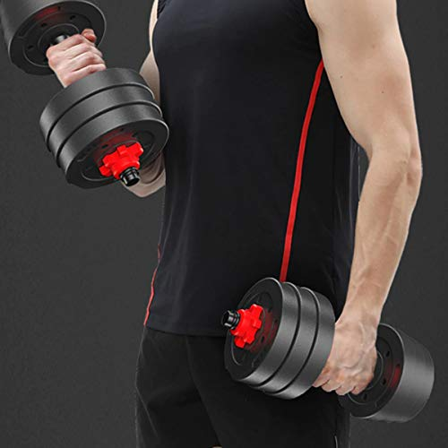 mymixtrendz 30kg Adjustable Dumbbells Weights set for Men Women, Solid Dumbbell Handles Barbell Perfect for training home gym weights Bodybuilding fitness weight lifting (Black)