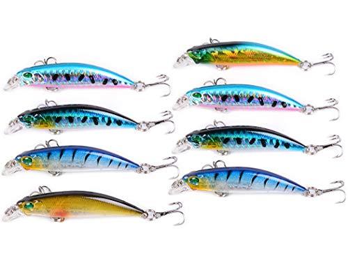 REYOK - Juego de 8 señuelos de pesca de pececillo 3D, línea láser, cebos de pesca de pececillo flotantes, cebos de pesca de pescado y lubina para luciopercas, lubina, lubina, trucha, Walleye, pez rojo