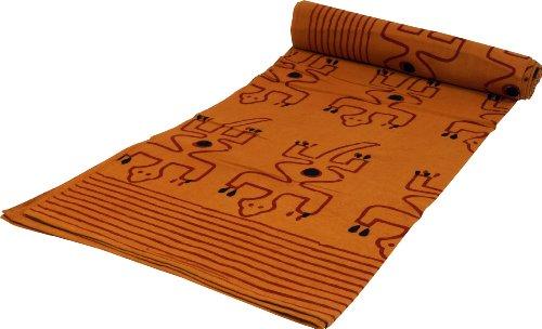 Guru-Shop Blockdruck Tagesdecke, Bett & Sofaüberwurf, Handgearbeiteter Wandbehang, Wandtuch Gelb, Braun, Orange - Design 25, Baumwolle, Größe: Double 225x275 cm, Tagesdecken mit Blockdruck
