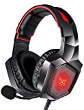 RUNMUS Gaming Headset for PS4, Xbox One, PC Headset w/Surround Sound, Noise Canceling Over Ear Headphones with Mic & LED Light, Compatible with PS5, PS4, Xbox One, Switch, PC, PS3, Mac, Laptop, Red