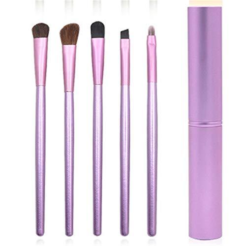 5 Outils Portatifs De Maquillage D'Oeil De Poignée En Bois Ont Réglé Des Outils De Maquillage De Beauté 14Cm Violet