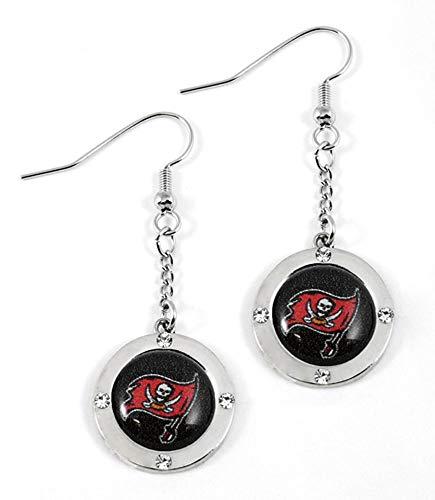 Aminco NFL Tampa Bay Buccaneers Round Crystal Dangler Earrings