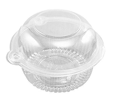 50 Pack Clear Plastic Single Individual Cupcake Muffin Dome Holders Cases Boxes Cups Pods