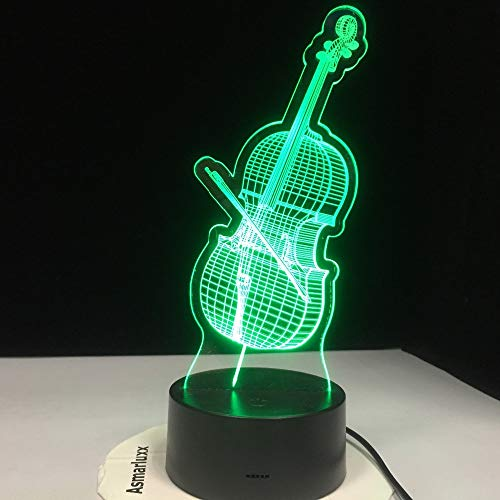 WAGUZA 3D Led Cello Modelling Night Lights 7 Colorful Musical Instruments Desk Lamp USB Bedroom Sleep Lighting Fixtures Decor Toy Gifts
