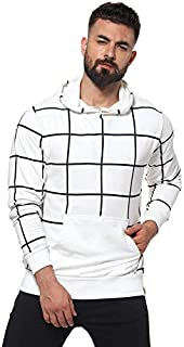 Campus Sutra Checks Pattern with Front Pocket Casual Hoodie or Sweatshirts for Men