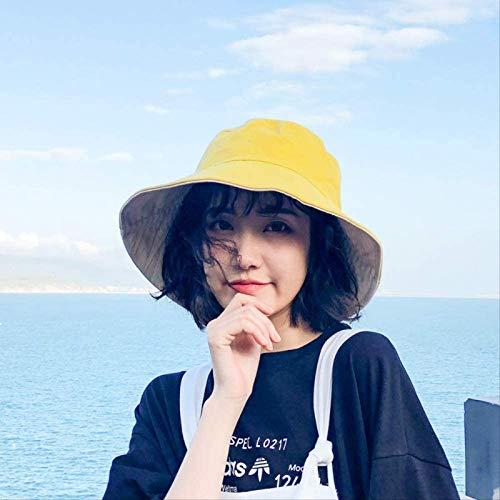Vbtsqp Sombrero de Pescador de Color sólido de Doble Cara Sombrero de Malla de Verano Sombrero para el Sol Versión Coreana Sombrero para el Sol con sombrilla para Todo fósforo