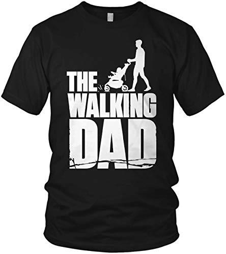 The Walking Dad - Papa Shirt Geschenk für Vatertag mit Kinderwagen Spruch Vater - Herren T-Shirt und Männer Tshirt, Farbe:Schwarz, Größe:L