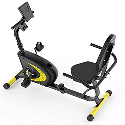 cycool Recumbent Exercise Bike, Magnetic Indoor Cycling Bike Stationary Bikes with Adjsutable Resistance and LCD Display For Home Cardio Workout (chrome yellow)