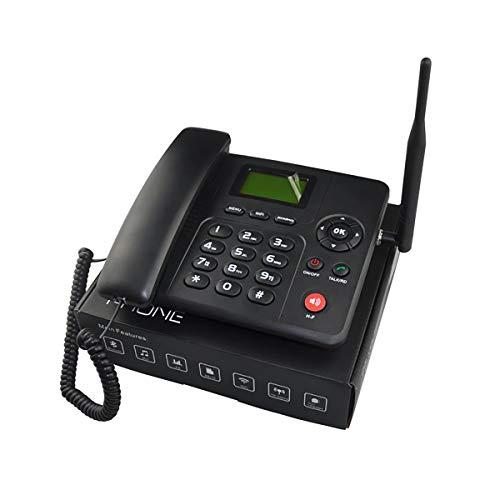 Teléfono fijo inalámbrico 4G WIFI Teléfono de escritorio GSM tarjeta SIM LCD para oficina hogar centro de llamadas empresa hotel (negro)