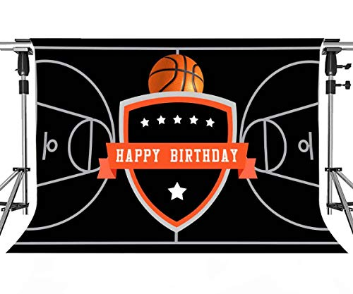 Basketball Birthday Party Backdrop for Basketball Theme Happy Birthday Party Decoration Black Basketball Court Stars Banner MEETSIOY 7x5ft LSMT933
