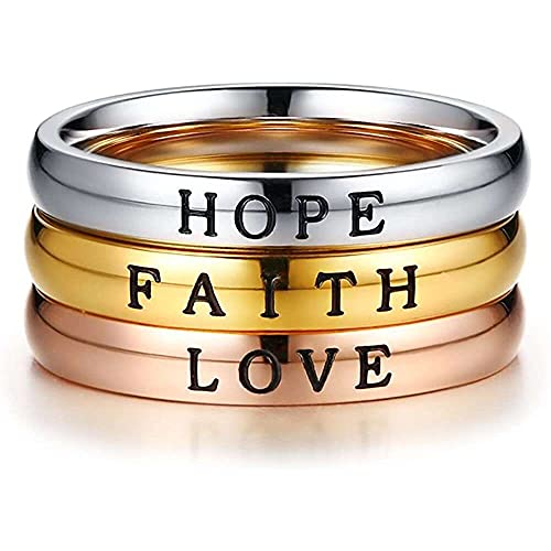 chaosong shop Anillo de acero inoxidable tricolor Trinity Set Faith Love Hope grabado, anillo apilable para mujer, anillo inspirador