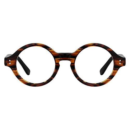 Zeelool Gafas redondas de acetato retro unisex con lentes transparentes Giggs FA0249-01