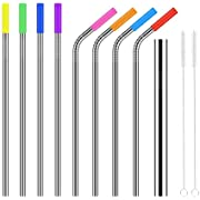 Stainless Steel Straws, Colohas Ultra Long 10.5'' Reusable Replacement Drinking Metal Straws for 30 20 Oz Yeti Tumber Rambers Cold Beverage (4 Straight+4 Bent+1 Bigger+8 Cilicone Tips+2 Brushes)