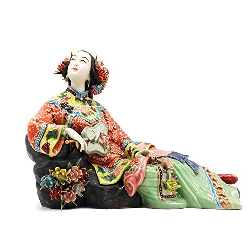 YNJZ Skulptur Antike chinesische Porzellanfigur Home Decor Statue Figur Keramik Ornament Klassische Damen Spring Craft Painted Art