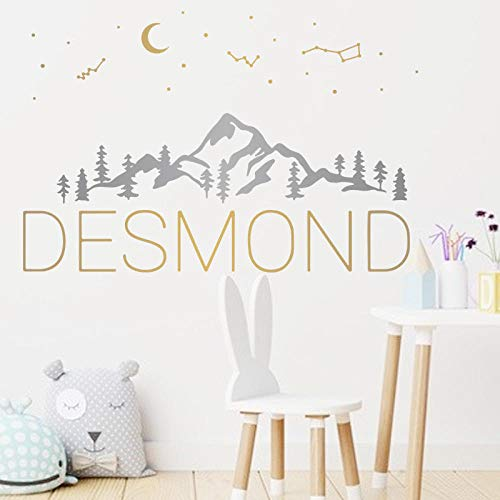 Modern Home Decor Moon Mountain Constellation Wall Sticker Desmond Self Adhesive Wallpaper For Living Room Bedroom