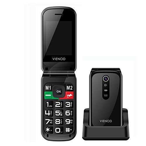 Seniorenhandy, VIENOD VF241 Mobiltelefon Klapphandy ohne Vertrag, 2,4-Zoll-Bildschirm Senioren-Handy Mit Großen Tasten, Mit Notruftaste, Kamera & Taschenlampe