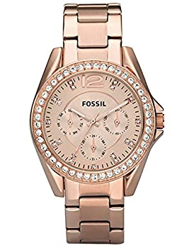 Fossil Women s Riley Quartz Stainless Steel Multifunction Watch Color  Rose Gold Glitz  Model  ES2811